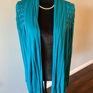 Lovely aqua coverup with sequence accent